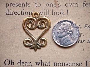 Brass, Light Copper or Silver Adinkra Sankofa Heart Charm 27mm