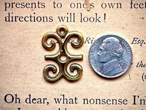 Brass or Silver Adinkra DWENNIMMEN Ram's Horns Charm 27mm