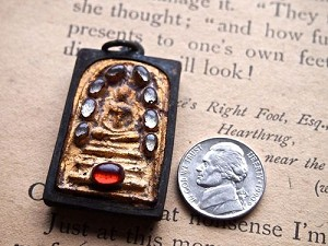 Bejeweled Rustic Thai Buddhist Amulet Pendant with Metal Frame