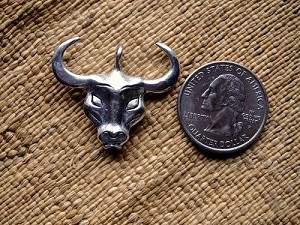 Antique Silver Bull or Buffalo Head Pendant