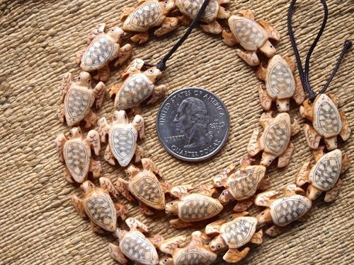Smaller Bone Sea Turtle Scrimshaw 20 Bead Strand