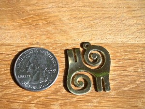 Brass Adinkra KWATAKYE ATIKO Bravory and Valor Charm 28mm