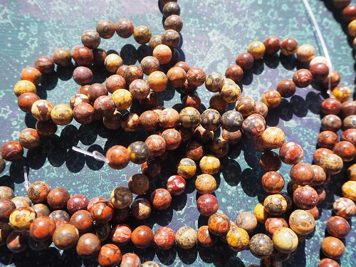 Full Strand 8mm Polished Round Red Leopardskin Jasper Beads 47 Beads