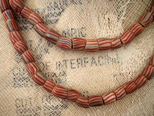 African Krobo Tube Trade Bead Strand Candy Stripes