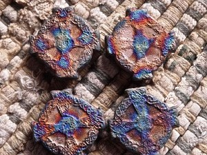 Iridescent Clay Ceramic Matte Raku Celtic Cross Bead
