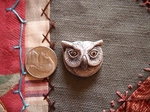 Large Ceramic Owl Head Bead or Pendant - Grey