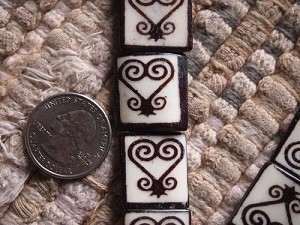 20x23mm Smaller Bone Batik Adinkra Sankofa Heart Batik Beads Framed Ebony on Ivory