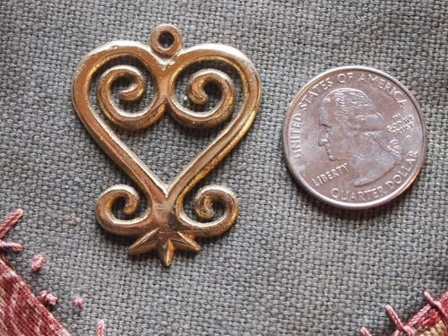Brass Adinkra Sankofa Heart Charm or Pendant 35mm
