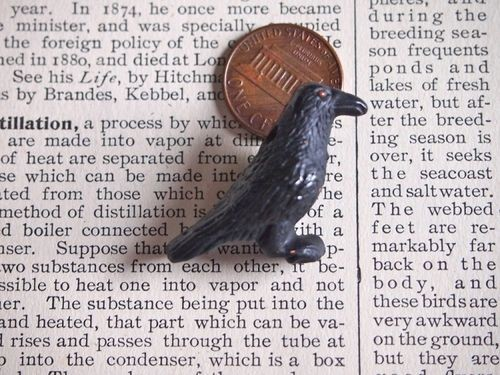 Black Ceramic Crow or Raven Bead