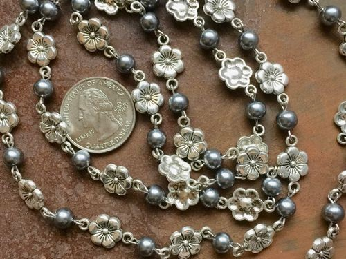 ONE METER Silver Floral Links and Grey Glass Pearls Rosary Chain