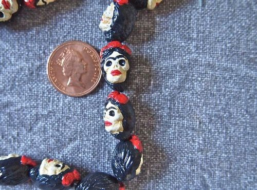 Tiny Ceramic Day of the Dead Frida Bead - Brunette Unibrow